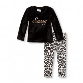 Baby And Toddler Girls Long Sleeve Sassy Faux Fur Sweater And Printed Leggings Set
