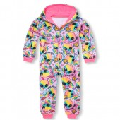 Girls Long Sleeve Rainbow Alien Fleece One-Piece Sleeper