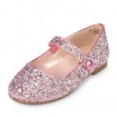Toddler Girls Rose Gold Glitter Ballet Flat