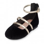 Toddler Girls Strappy Velvet Ballet Flat
