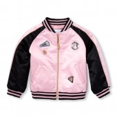 Baby And Toddler Girls Glitter Patch Bomber Jacket
