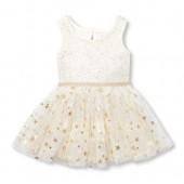 Baby Girls Sleeveless Foil Stars Pleated Knit Tutu Dress