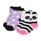 Toddler Girls Panda Cozy Socks 2-Pack