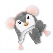 Toddler Girls Faux Fur Penguin Pom Pom Beanie And Mittens Set