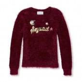 Girls Long Sleeve Sequin 'Squad' Graphic Eyelash Sweater
