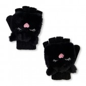 Girls Faux Fur Critter Convertible Mitten Gloves