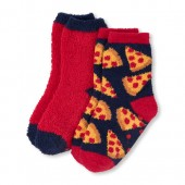 Boys Solid And Pizza Print Cozy Socks 2-Pack