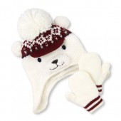 Toddler Boys Polar Bear Hat And Mittens Set