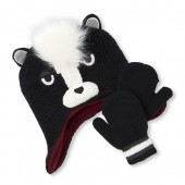 Toddler Boys Faux Fur Skunk Hat And Mittens Set