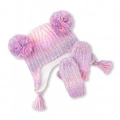 Toddler Girls Space-Dye Pom Pom Fleece Hat And Mittens Set