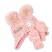 Toddler Girls Glitter Patch Pom Pom Cozy Hat And Mittens Set