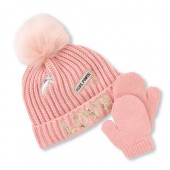 Toddler Girls Glitter Patch Pom Pom Hat And Mittens Set