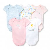 Baby Girls Short Sleeve Clouds And Rainbows Bodysuits 5-Pack