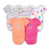 Baby Girls Short Sleeve Happy Llama Bodysuits 5-Pack