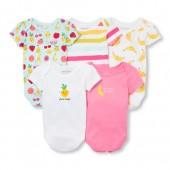 Baby Girls Short Sleeve Happy Fruits Bodysuits 5-Pack