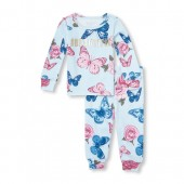 Baby And Toddler Girls Matching Family Long Sleeve Foil Hashtag Beautiful Butterfly Print Top And Pants Snug-Fit PJ Set