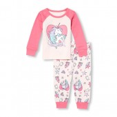 Baby And Toddler Girls Long Raglan Sleeve One Of A Kind Unicorn Top And Printed Pants Snug-Fit PJ Set