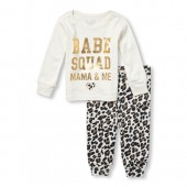 Baby And Toddler Girls Long Sleeve Foil Babe Squad Top And Leopard Printed Pants Snug-Fit PJ Set