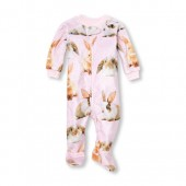 Baby And Toddler Girls Long Sleeve Bunny Print Footed Blanket Sleeper
