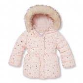 Baby And Toddler Girls Foil Star Print Faux Fur Hooded Puffer Jacket