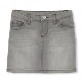 Girls Velvet Side Stripe Denim Skirt