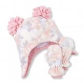 Toddler Girls Rose Print Pom Pom Fleece Hat And Mittens Set
