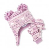 Toddler Girls Fairisle Print Pom Pom Fleece Hat And Mittens Set