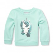 Baby And Toddler Girls Active Long Sleeve Embellished Icon Graphic Pullover