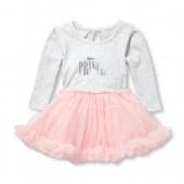 Baby Girls Long Sleeve Foil 'Princess' Knit-To-Woven Tutu Dress