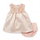 Baby Girls Sleeveless Faux Fur Yoke Metallic Jacquard Dress And Bloomers Set