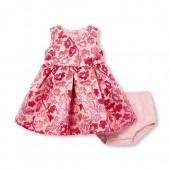 Baby Girls Sleeveless Metallic Jacquard Woven Dress And Bloomers Set