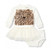 Baby Girls Long Sleeve Faux Fur Leopard Graphic Tutu Dress And Bloomers Set