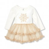 Baby Girls Long Sleeve Glitter Snowflake Knit-To-Woven Tutu Dress
