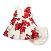 Baby Girls Sleeveless Rose Print Pleated Dress And Bloomers Set