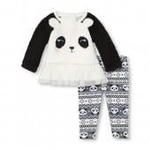 Baby Girls Long Sleeve Panda Tutu Top And Printed Leggings Set