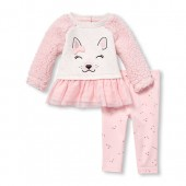 Baby Girls Long Sleeve Faux Sherpa Puppy Top And Printed Leggings 2-Piece Set