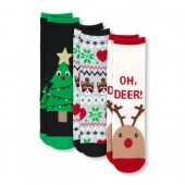 Girls Christmas Crew Socks 3-Pack
