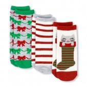 Toddler Girls Christmas Crew Socks 3-Pack