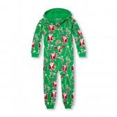 Unisex Kids Matching Family Long Sleeve Santa And Elf Print Hooded Fleece One-Piece Sleeper
