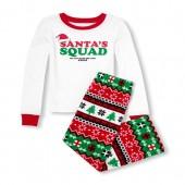 Unisex Kids Matching Family Long Sleeve Santas Squad Top And Fairisle Christmas Printed Fleece Pants PJ Set