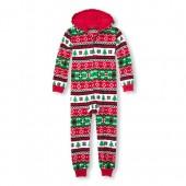 Unisex Kids Matching Family Long Sleeve Christmas Fairisle Hooded Fleece One-Piece Sleeper
