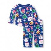 Unisex Baby And Toddler Matching Family Long Sleeve Christmas Emoji Top And Pants Fleece PJ Set