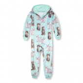 Girls Matching Family Long Sleeve Kitty Hooded Fleece One-Piece Sleeper