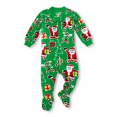 Unisex Baby And Toddler Long Sleeve Matching Family Santa Footed Blanket Sleeper