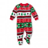 Unisex Baby And Toddler Matching Family Long Sleeve Fairisle Print Footed Blanket Sleeper