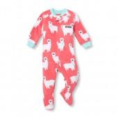 Baby And Toddler Girls Long Sleeve I Heart Mama Llama Footed Blanket Sleeper