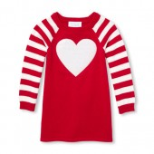 Baby And Toddler Girls Valentines Day Long Raglan Sleeve Sequin Heart Sweater Dress