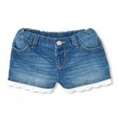 Baby And Toddler Girls Crochet Trim Denim Shorts