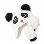 Toddler Girls Faux Fur Panda Hat And Mittens Set