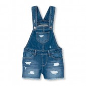Girls Destructed Denim Shortalls